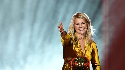 Olympique Lyonnais' Norwegian forward Ada Hegerberg gestures after receiving the 2018 FIFA Women's Ballon d'Or award for best player of the year during the 2018 FIFA Ballon d'Or award ceremony at the Grand Palais in Paris on December 3, 2018. - The winner of the 2018 Ballon d'Or will be revealed at a glittering ceremony in Paris on December 3 evening, with Croatia's Luka Modric and a host of French World Cup winners all hoping to finally end the 10-year duopoly of Cristiano Ronaldo and Lionel Messi. (Photo by FRANCK FIFE / AFP)        (Photo credit should read FRANCK FIFE/AFP/Getty Images)