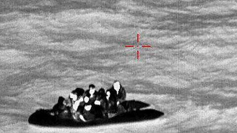 Iranian migrants rescued by the French Coastguard in the English Channel