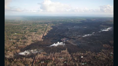 Lava that erupted from fissures in Kilauea's East Rift Zone destroyed parts of Hawaii's Leilani Estates community. Steam rises from the cracks in this November 7 photo, but there's been no eruption since September.