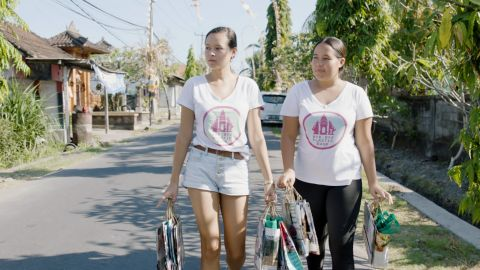 """Sisters Melati (left) and Isabel Wijsen were just 12 and 10 years old when they created <a href=""""http://www.byebyeplasticbags.org/"""" target=""""_blank"""" target=""""_blank"""">Bye Bye Plastic Bags</a>, an initiative to help Bali become plastic bag-free, five years ago. Their efforts include river and beach cleanups and educating schools, families and local shops about the issue and what they can do. """"When I see people using alternative bags, I just get, like, a huge sprout of joy in me, because it really shows that people are caring,"""" Isabel says."""