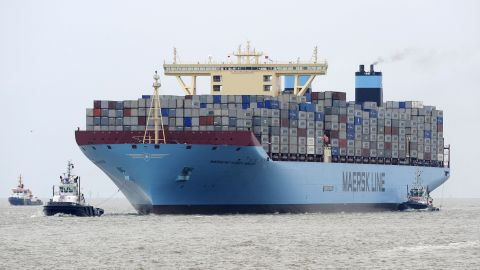 """The """"Maersk Mc-Kinney Moller"""" container ship arrives in Bremerhaven, Germany, during its maiden trip in 2013."""