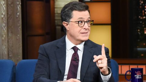 NEW YORK - NOVEMBER 27: The Late Show with Stephen Colbert and guest Neil DeGrasse Tyson during Tuesday's November 27, 2018 show. (Photo by Scott Kowalchyk/CBS via Getty Images)