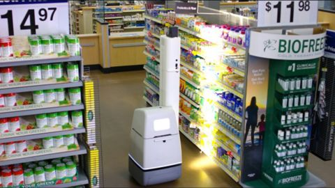 Walmart's shelf-scanning robot moves around aisles and identifies which items are low or out of stock.