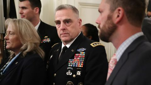 WASHINGTON, DC - OCTOBER 25: AFP OUT U.S. Army Chief of Staff Gen. Mark Milley (C) arrives for an event commemorating the 35th anniversary of attack on the Beirut Barracks in the East Room of the White House October 25, 2018 in Washington, DC. On October 23, 1983 two truck bombs struck the buildings housing Multinational Force in Lebanon (MNF) peacekeepers, killing 241 U.S. and 58 French peacekeepers and 6 civilians. (Photo by Chip Somodevilla/Getty Images)