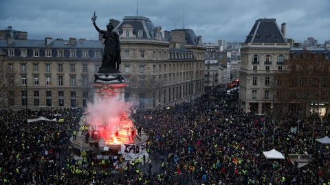 Protesters gather in the Place de la République on December 8.