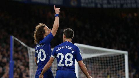 Chelsea's Brazilian defender David Luiz celebrates after scoring his team's second goal against Manchester City.