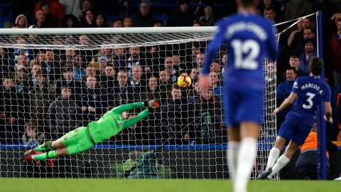Chelsea keeper Kepa Arrizabalaga blocks a shot.