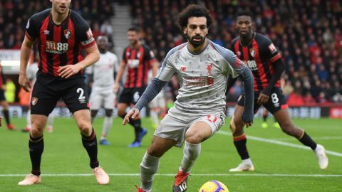 Mohamed Salah of Liverpool in action against AFC Bournemouth at Vitality Stadium.