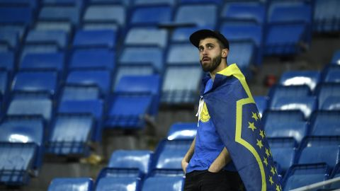 A Boca Juniors fan in the stands following his team's 3-1 loss to River Plate.