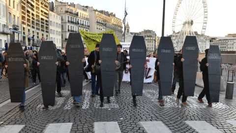 Demonstrators turn out in Marseille on Monday to protest against unsafe and unsanitary housing.