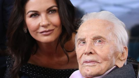 Catherine Zeta-Jones and Kirk Douglas attend the ceremony honoring Michael Douglas with a star on The Hollywood Walk of Fame on November 06, 2018, in Hollywood, California.