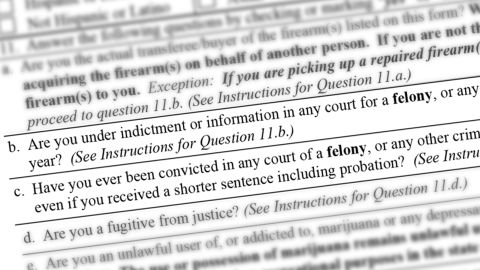 The federal gun form asks if you're currently under indictment, a fugitive from justice, using illegal drugs, or inside the United States illegally, among other things.