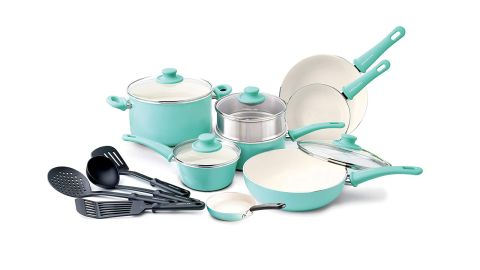"""<strong>Rachael Ray Cucina Hard Porcelain Enamel Nonstick Cookware Set, 12-Piece ($99; </strong><a href=""""https://amzn.to/2PyaiFd"""" target=""""_blank"""" target=""""_blank""""><strong>amazon.com</strong></a><strong>)</strong>"""