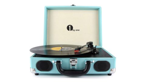 """<strong>1byone Belt-Drive 3-Speed Portable Stereo Turntable ($42.49; </strong><a href=""""https://amzn.to/2SChqT9"""" target=""""_blank"""" target=""""_blank""""><strong>amazon.com</strong></a><strong>)</strong>"""