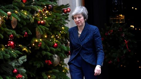 Theresa May addresses the media outside 10 Downing Street after it was announced that the Conservative Party will hold a vote of no confidence in her leadership.