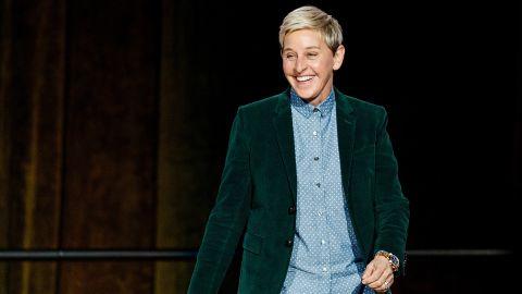 """Comedian Ellen DeGeneres seen onstage during """"A Conversation With Ellen DeGeneres"""" at Rogers Arena on October 19, 2018 in Vancouver, Canada."""