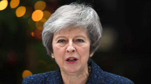 LONDON, ENGLAND - DECEMBER 12:  Prime Minister Theresa May makes a statement in Downing Street after it was announced that she will face a vote of no confidence, to take place tonight, on December 12, 2018 in London, England. Sir Graham Brady, the chairman of the 1922 Committee, has received the necessary 48 letters (15% of the parliamentary party) from Conservative MP's that will trigger a vote of no confidence in the Prime Minister.  (Photo by Leon Neal/Getty Images)