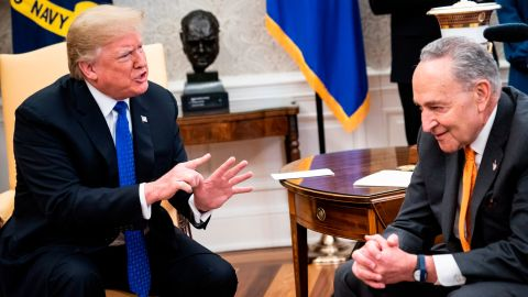 Trump was constantly leaning forward, sitting at the edge of his seat and using his hands to gesticulate and interrupt. He leaned toward both Pelosi and Schumer, but he seemed to spend most of the time leaning very directly at Schumer, who, for the most part, looked not at Trump, but at Pelosi. In this image, Trump's hands are helping him make a point, while Schumer's are clenched.