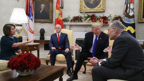 The most intriguing participant in the meeting may have been Vice President Mike Pence, who said nothing. Rather, he routinely closed his eyes and seemed to be retreating as his boss did verbal battle with the Democrats. You also see here Trump's direct and near-constant focus on Schumer rather than Pelosi.