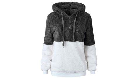 """<strong>Women Casual Double Fuzzy Sweatshirt Faux Fleece Zip Pullover Hoodies ($24.99; </strong><a href=""""https://amzn.to/2L9nyj7"""" target=""""_blank"""" target=""""_blank""""><strong>amazon.com</strong></a><strong>)</strong>"""