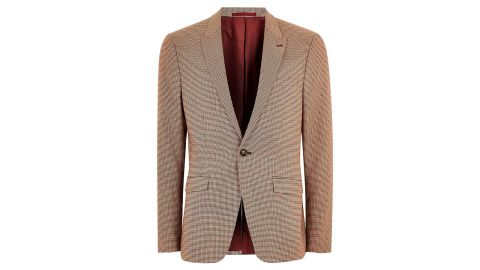 """<strong>Fashionable gifts for dad: The blazer</strong><br />Red Stone Houndstooth Skinny Blazer ($195; <a href=""""https://click.linksynergy.com/deeplink?id=Fr/49/7rhGg&mid=35859&u1=1211mensfashiongifts&murl=http%3A%2F%2Fus.topman.com%2Fen%2Ftmus%2Fproduct%2Fclothing-172005%2Fmens-blazers-3547074%2Fred-stone-houndstooth-skinny-blazer-8047495"""" target=""""_blank"""" target=""""_blank"""">topman.com</a>)"""