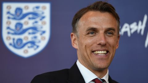 BURTON-UPON-TRENT, ENGLAND - JANUARY 29:  Head Coach of England Women, Phil Neville speaks during a England Women's Press Conference at St Georges Park on January 29, 2018 in Burton-upon-Trent, England.  (Photo by Gareth Copley/Getty Images)
