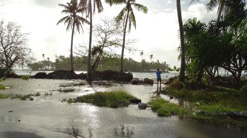 In this photo taken on March 9, 2016, a resident walks through tidal water in Majuro Atoll, in the Marshall Islands. Residents in low-lying areas of the Marshall Islands were braced for ongoing flooding on March 11, as a series of inundations underscored the Pacific island nation's vulnerability to climate change. / AFP / HILARY HOSIA        (Photo credit should read HILARY HOSIA/AFP/Getty Images)