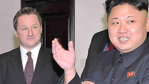 Michael Spavor seen in a file photo with Kim Jong Un from 2014.