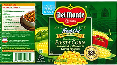 Del Monte recalled more than 64,000 cases of canned corn seasoned with red and green peppers