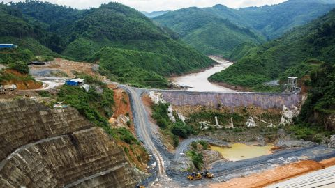Construction site of the Nam Tha 1 dam in Bokeo Province, Laos, in July 2017.