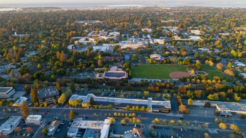 Flying over Menlo Park in Silicon Valley at sunset