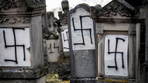 Tombstones in the Herrlisheim Jewish cemetery, north of Strasbourg, France, were spray-painted with swastikas.
