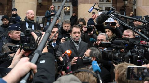 French Interior Minister Christophe Castaner speaks Friday at a press conference in Strasbourg.
