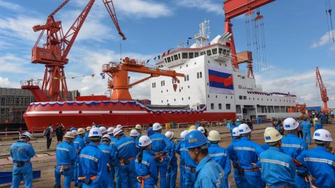 China's first domestically-built icebreaker, Xuelong 2, during a launch ceremony at a shipyard in Shanghai in September.