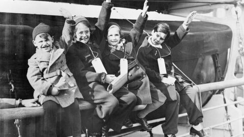 German-Jewish children arrive in the British city of Southampton in March 1939.