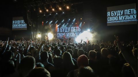 """Noize MC performs to a packed crowd at the """"I'm going to Sing my Music"""" charity concert in Moscow a charity concert titled """"I'm Going to Sing My Song"""" on November 26."""