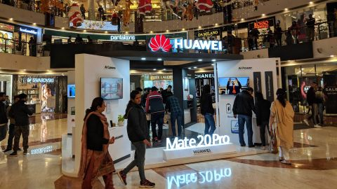 A Huawei booth at a mall in New Delhi, India.