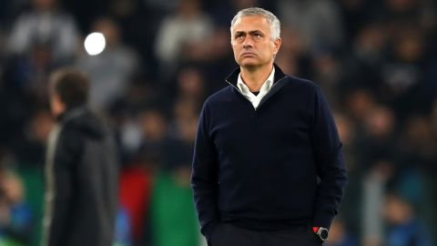 TURIN, ITALY - NOVEMBER 07:  Jose Mourinho, Manager of Manchester United looks on whilst his players warm up ahead of the UEFA Champions League Group H match between Juventus and Manchester United at Juventus Stadium on November 7, 2018 in Turin, Italy.  (Photo by Michael Steele/Getty Images)