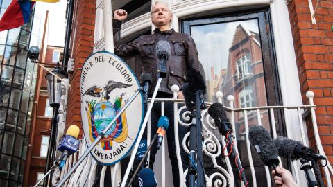 Julian Assange on the balcony of the Ecuadorian embassy on May 19, 2017 in London.