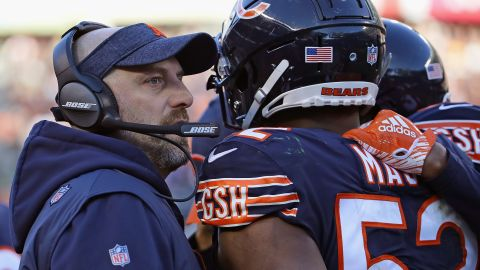 Head coach Matt Naty of the Chicago Bears talks with Khalil Mack during a 24-17 win over the Packers 24-17.