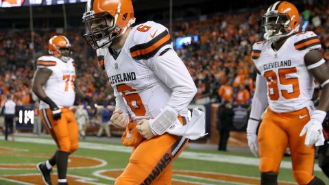 Quarterback Baker Mayfield of the Cleveland Browns celebrates a touchdown against the Denver Broncos on Dec. 15, 2018. The win gave the Browns their sixth win of the season, two more than the total they've won since 2015.