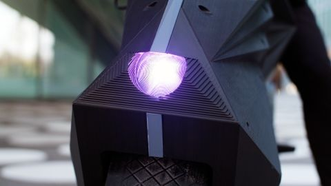 Customizable LED lights are another of the bike's innovative features.