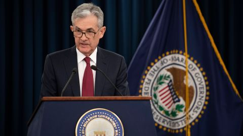 US Federal Reserve Board Chairman Jerome Powell holds a news conference after a Federal Open Market Committee meeting in Washington, DC, December 19, 2018. - The US central bank raised the benchmark borrowing rate on Wednesday, December 19, 2018 but gave the clearest sign to date that it will go slow on additional increases as it watches the economy. (Photo by Jim WATSON / AFP)        (Photo credit should read JIM WATSON/AFP/Getty Images)