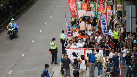 Protestors take part in a National Day pro-democracy rally in Hong Kong on October 1, 2018.