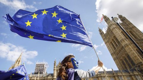 """Pro-European Union demonstrators protest outside the Houses of Parliament against the first vote today on a bill to end Britain's membership of the EU on September 11, 2017. - MPs hold their first vote today on a bill to end Britain's membership of the EU, which ministers say will avoid a """"chaotic"""" Brexit but has been condemned as an unprecedented power grab. (Photo by Tolga Akmen / Tolga Akmen / AFP)        (Photo credit should read TOLGA AKMEN/AFP/Getty Images)"""