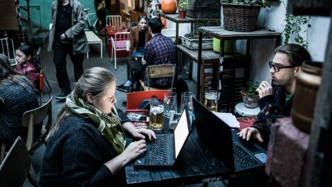 Zsuzsanna Csoraba and Gergely Buda are having a beer in Aurora. They say they come here every second day, as it is so close to their home, there is always something to do here and they love the atmosphere of the place.