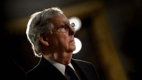 Senate Majority Leader Senator Mitch McConnell (R-KY) waits for a ceremony for former US President George H. W. Bush in the US Capitol December 3, 2018 in Washington, DC. (BRENDAN SMIALOWSKI/AFP/Getty Images)