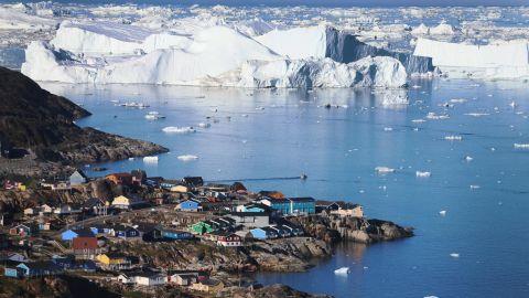 Icebergs breaking off a glacier in Greenland.