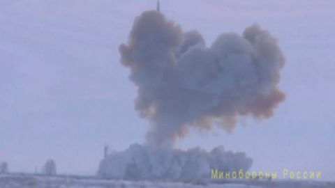 A still image taken from video footage released by Russia's Defense Ministry on December 26, 2018, shows a test launch of an Avangard new hypersonic missile in the Orenburg Region.