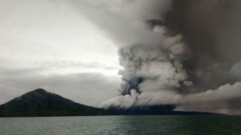 This picture taken on December 26, 2018 shows the Anak (Child) Krakatoa volcano erupting, as seen from a ship on the Sunda Straits. - Indonesia on December 27 raised the danger alert level for a volcano that sparked a killer tsunami, after previously warning that fresh activity at the crater threatened to launch another deadly wave. (Photo by STR / AFP)        (Photo credit should read STR/AFP/Getty Images)